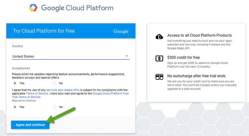 Google Cloud Platform Agree TOS