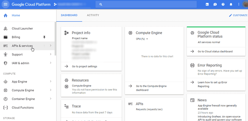 Google Cloud Platform Dashboard Console